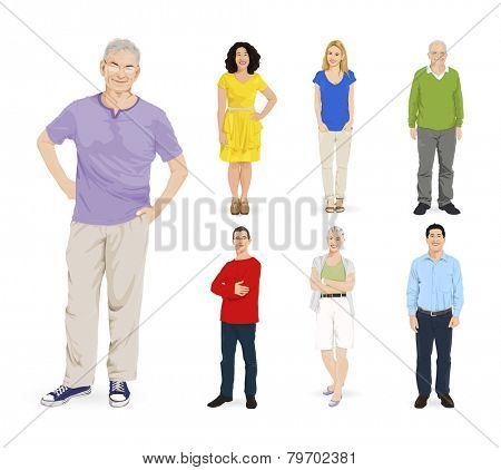 Group of Multi-ethnic People Vector