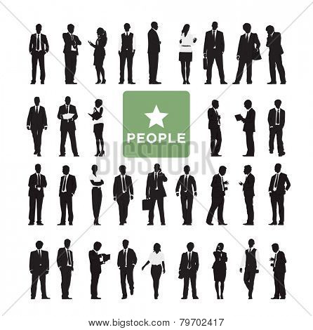 Vector of Diverse Business People's Silhouettes Vector