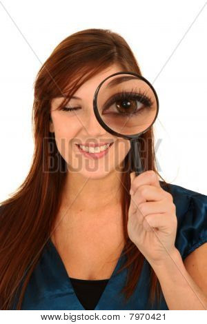 Pretty Woman And Magnifying Glass