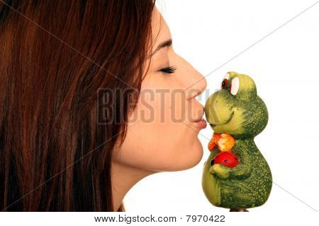 Beuatiful Woman Kissing Frog