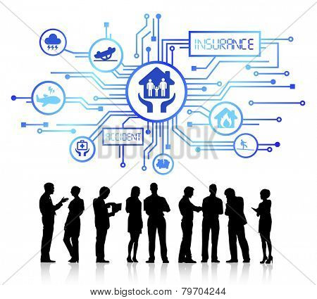 Group of People with Insurance Concept Vector