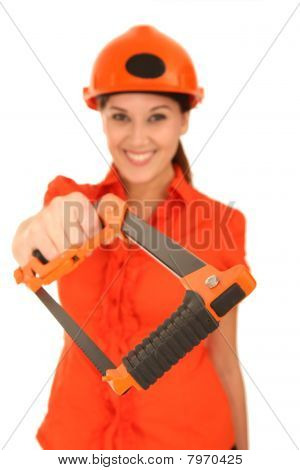 Beuatiful Lady Worker With Saw