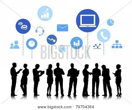 Business People with Social Media Concept Vector