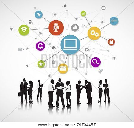 Group of People with Social Media Concept Vector