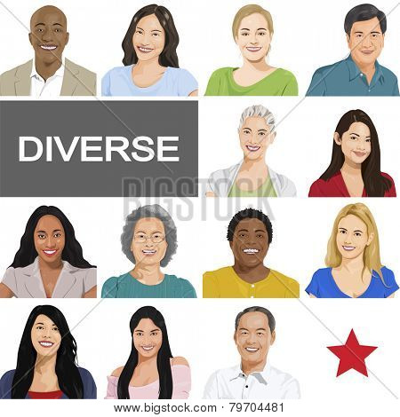 Diverse People on White Background Vector