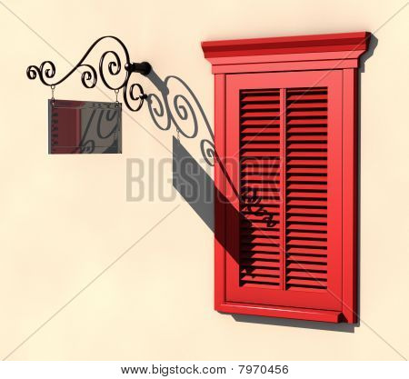 Red Window And Dark Signboard In Strong Summer Light
