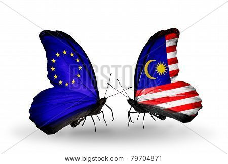 Two Butterflies With Flags On Wings As Symbol Of Relations Eu And Malaysia