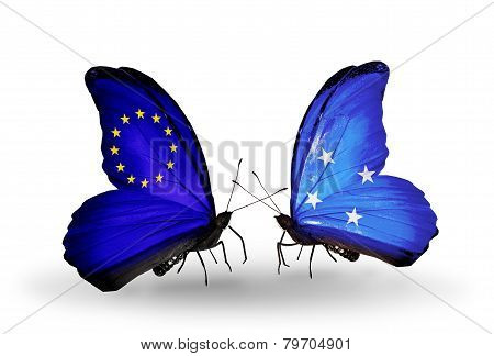 Two Butterflies With Flags On Wings As Symbol Of Relations Eu And Micronesia