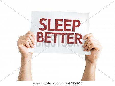 Sleep Better card isolated on white background