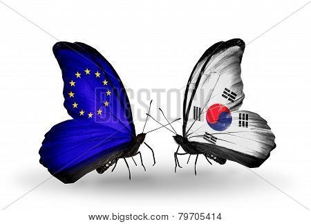 Two Butterflies With Flags On Wings As Symbol Of Relations Eu And South Korea
