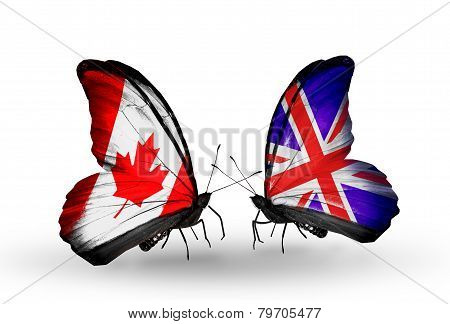 Two Butterflies With Flags On Wings As Symbol Of Relations Canada And  Uk