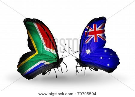 Two Butterflies With Flags On Wings As Symbol Of Relations South Africa And Australia