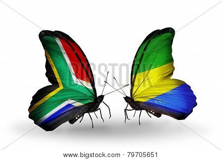 Two Butterflies With Flags On Wings As Symbol Of Relations South Africa And Gabon