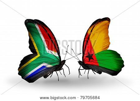 Two Butterflies With Flags On Wings As Symbol Of Relations South Africa And Guinea Bissau