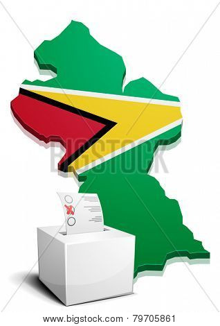 detailed illustration of a ballotbox in front of a map of Guyana, eps10 vector