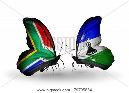 Two Butterflies With Flags On Wings As Symbol Of Relations South Africa And Lesotho