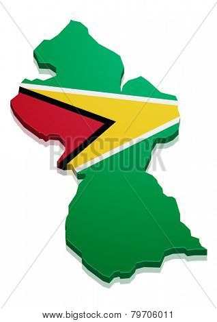 detailed illustration of a map of Guyana with flag, eps10 vector
