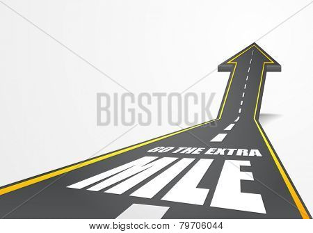 detailed illustration of a highway road going up as an arrow with go the extra mile text, eps10 vector