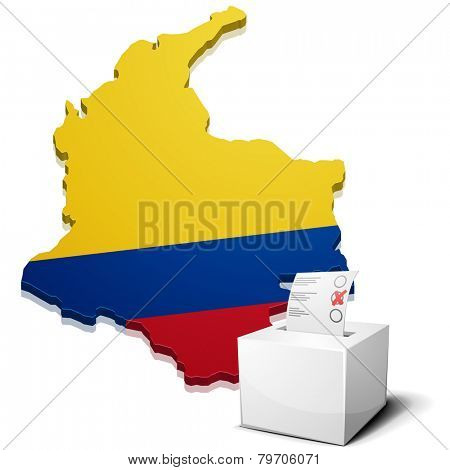 detailed illustration of a ballotbox in front of a map of Colombia, eps10 vector