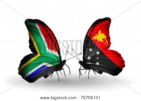 Two Butterflies With Flags On Wings As Symbol Of Relations South Africa And Papua New Guinea