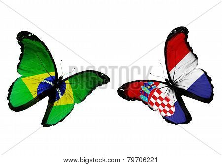 Concept - Two Butterflies With Brazil And Croatian Flags Flying, Like Two Football Teams Playing