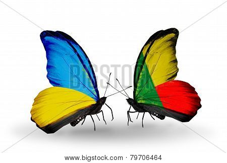 Two Butterflies With Flags On Wings As Symbol Of Relations Ukraine And Benin