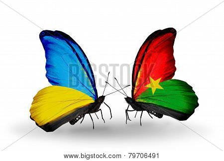 Two Butterflies With Flags On Wings As Symbol Of Relations Ukraine And Burkina Faso