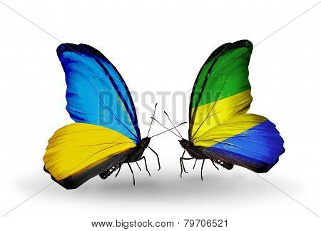 Two Butterflies With Flags On Wings As Symbol Of Relations Ukraine And Gabon