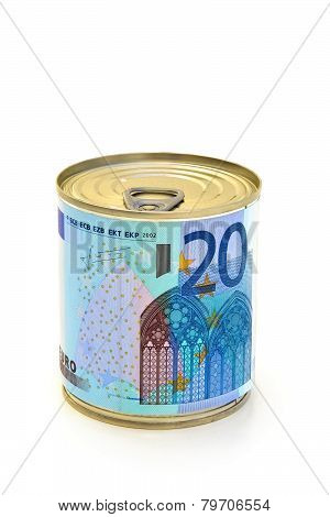 Euro bills canned