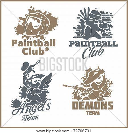 Paintball emblem and logo - vinyl-ready vector set