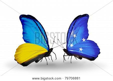 Two Butterflies With Flags On Wings As Symbol Of Relations Ukraine And Micronesia