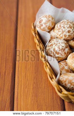 Russian honey-cake in basket on baking paper