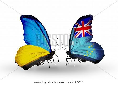 Two Butterflies With Flags On Wings As Symbol Of Relations Ukraine And Tuvalu