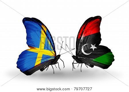 Two Butterflies With Flags On Wings As Symbol Of Relations Sweden And Libya