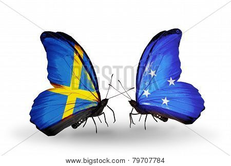 Two Butterflies With Flags On Wings As Symbol Of Relations Sweden And Micronesia
