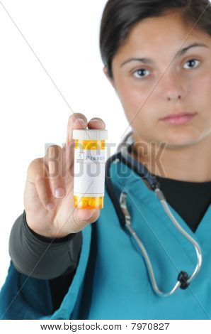 Female Medical Professional With Prescription Bottle