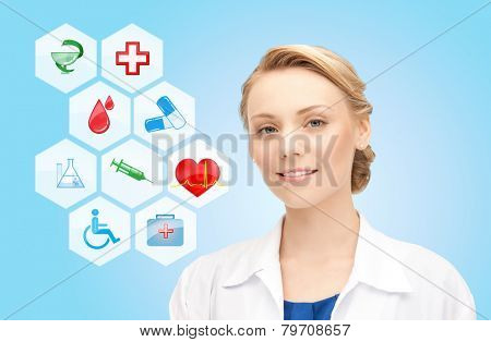 healthcare, medicine, people and symbols concept - smiling young doctor or nurse over medical icons and blue background