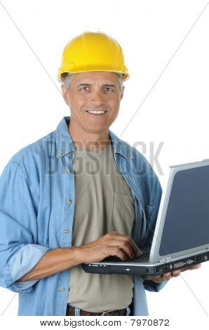 Construction Worker Holding Laptop