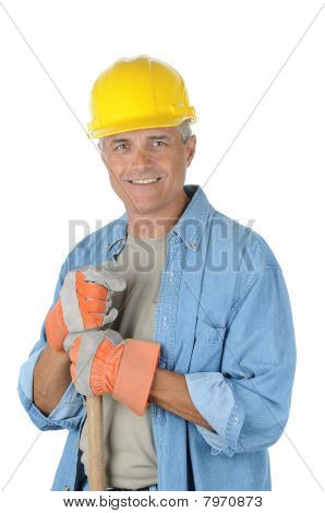 Worker Holding Onto Shovel Handle