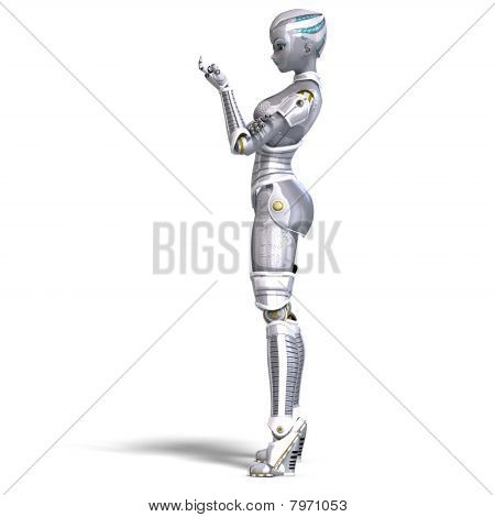 female sexy metallic robot