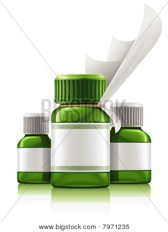 three green medical bottles with medication