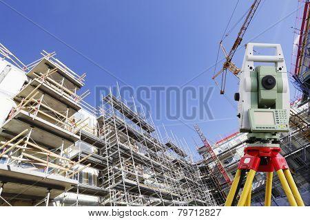 surveying instrument inside large construction site
