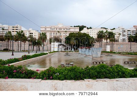 City square with fountain in Cartagena. Spain