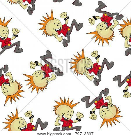 little punk seamless pattern on white
