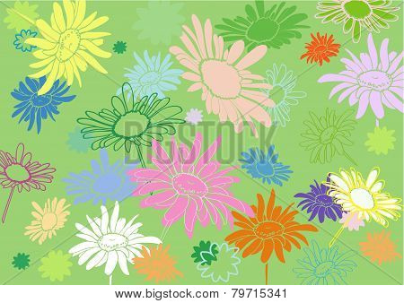Multi-colored Flowers On A Green Background, With Varying Degrees Of Vectorization