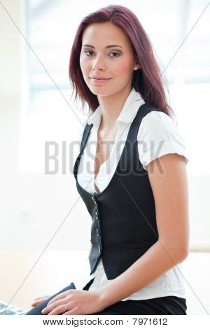 Attractive Red-haired Businesswoman