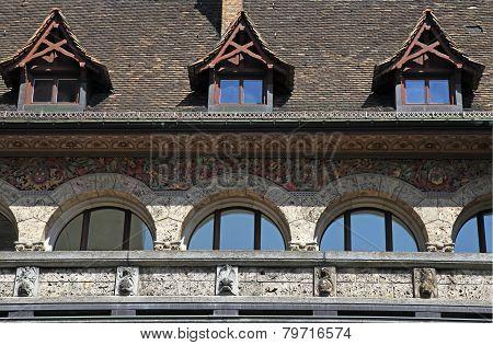 Detail Of Medieval Building, Zurich, Switzerland.