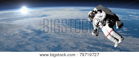 Astronaut or cosmonaut flying upon earth - 3D render