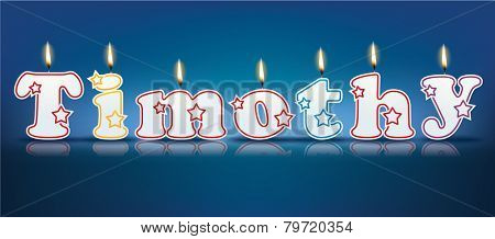 TIMOTHY written with burning candles - vector illustration