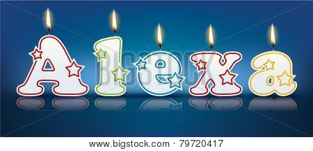 ALEXA written with burning candles - vector illustration